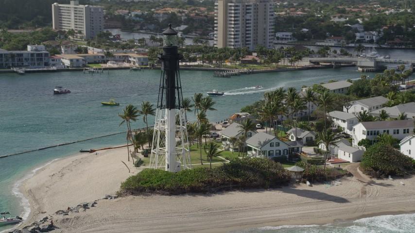 5K stock footage aerial video of orbiting the Hillsboro Inlet Light, Hillsboro Beach, Florida Aerial Stock Footage | AX0031_173