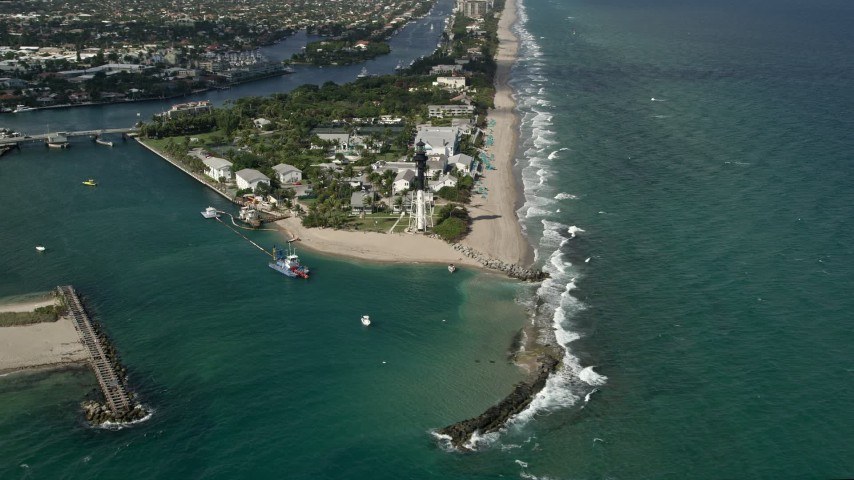 5K stock footage aerial video of flying by Hillsboro Inlet Light, Hillsboro Beach, Florida Aerial Stock Footage | AX0031_182