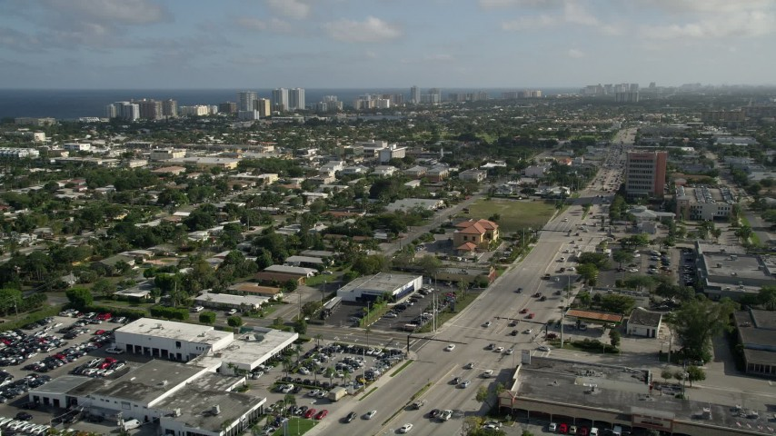5K stock footage aerial video of North Federal Highway, Pompano Beach, Florida Aerial Stock Footage | AX0032_002