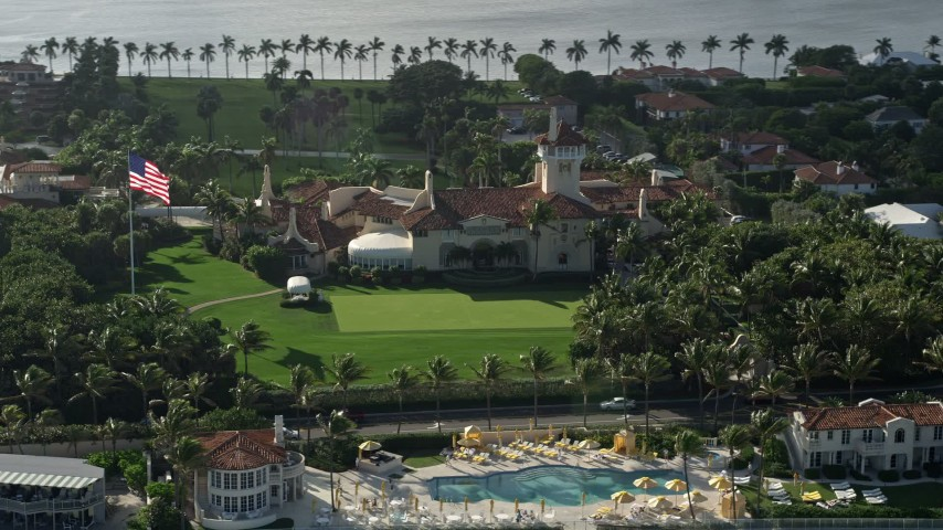 5K stock footage aerial video of Mar-A-Lago estate, Palm Beach, Florida Aerial Stock Footage | AX0032_074