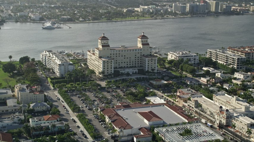 5K stock footage aerial video of approaching coastal condominium complex, Palm Beach, Florida Aerial Stock Footage | AX0032_083