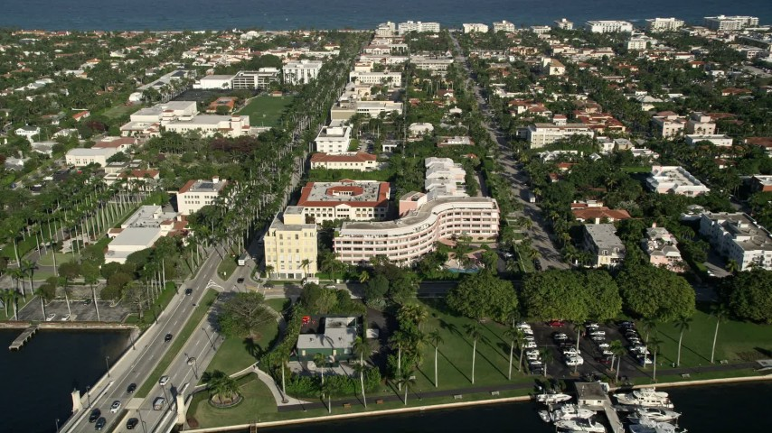 5K stock footage aerial video of approaching apartment building, Palm Beach, Florida Aerial Stock Footage | AX0032_099