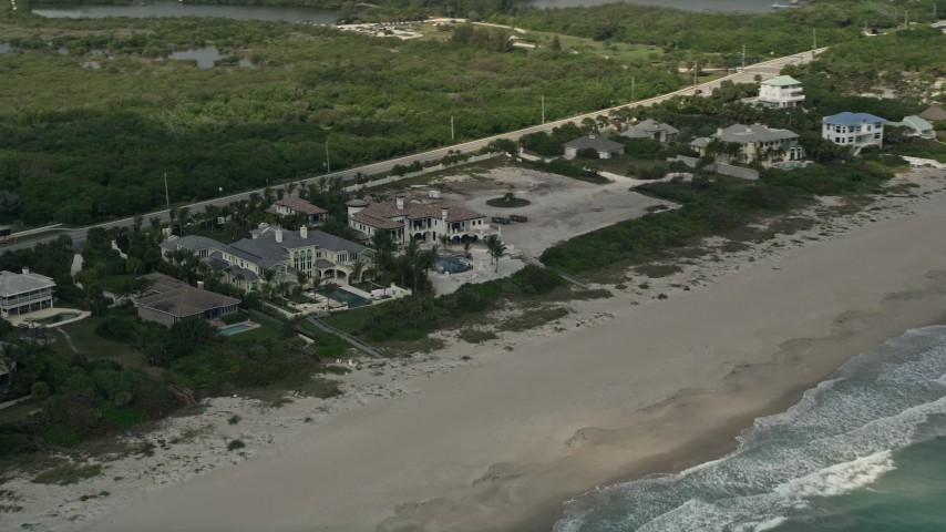 5K stock footage aerial video of beachfront mansions, Vero Beach, Florida Aerial Stock Footage | AX0033_052