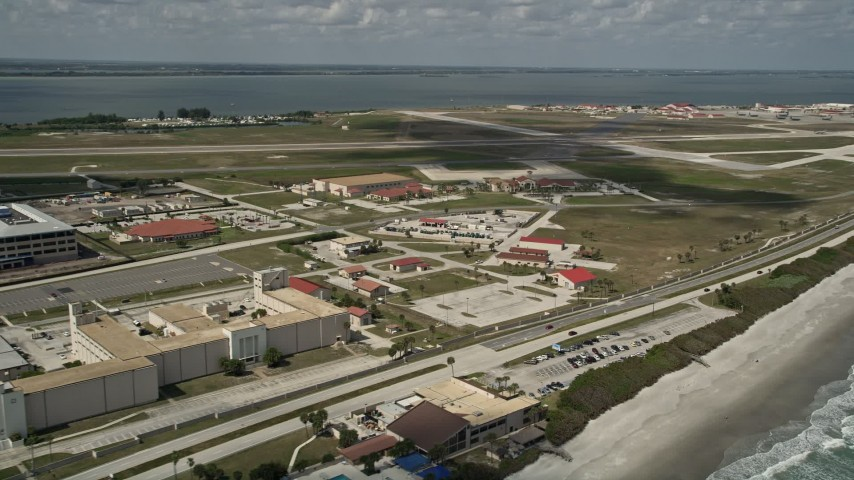 5K stock footage aerial video fly by Patrick Air Force Base, Florida Aerial Stock Footage | AX0034_001