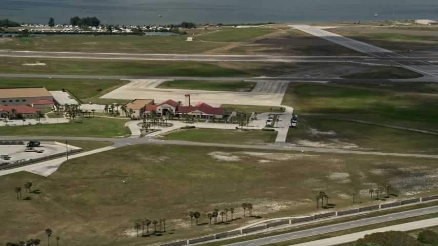 5K stock footage aerial video flyby buildings at Patrick Air Force Base, Central Florida Aerial Stock Footage | AX0034_002