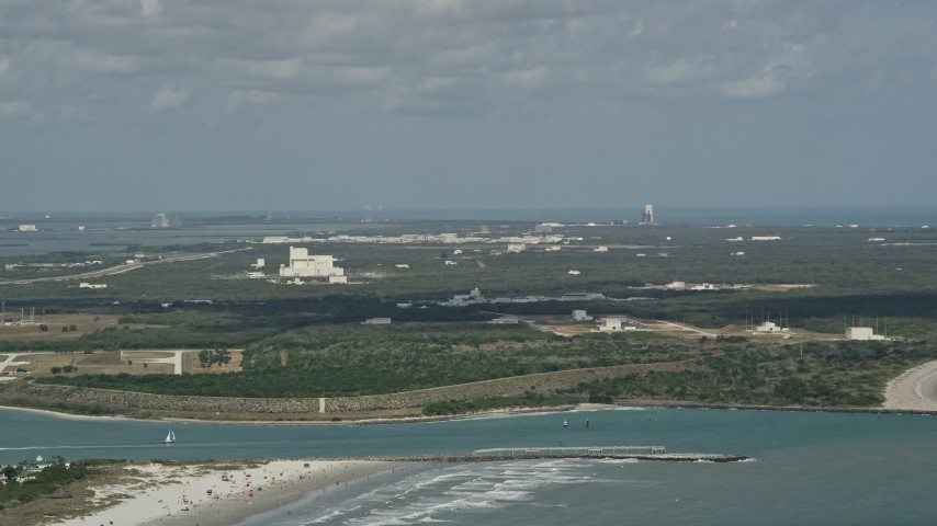 5K stock footage aerial video of approaching Cape Canaveral, Florida Aerial Stock Footage | AX0034_013