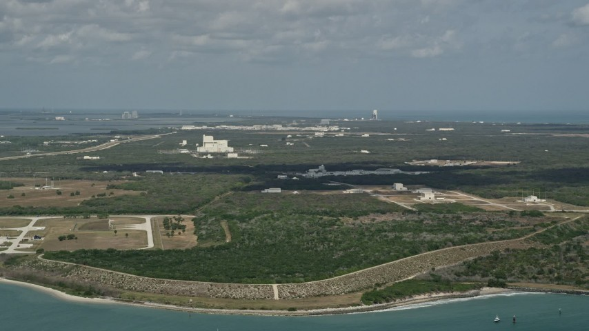 5K stock footage aerial video of an approach to Cape Canaveral, Florida Aerial Stock Footage | AX0034_014