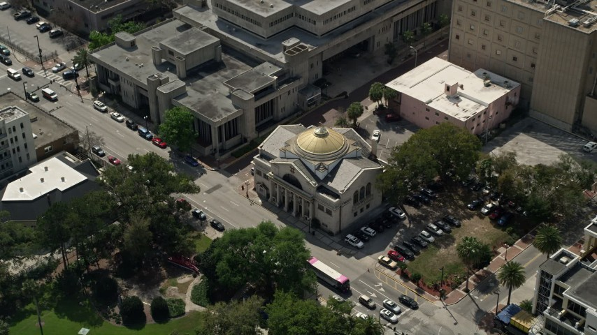 5K stock footage aerial video approach and tilt to Church of St. George, Downtown Orlando, Florida Aerial Stock Footage   AX0034_106