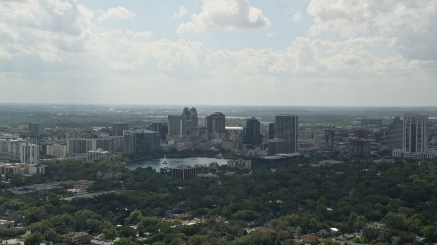 5K aerial stock footage video of Downtown Orlando and Lake Eola, Florida Aerial Stock Footage   AX0035_002