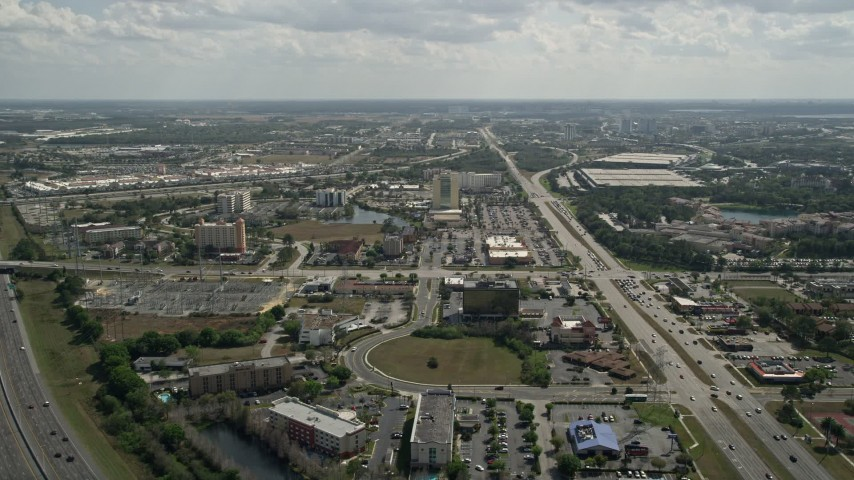 5K stock footage aerial video flyby hotels near Universal Studios, Orlando, Florida Aerial Stock Footage | AX0035_012
