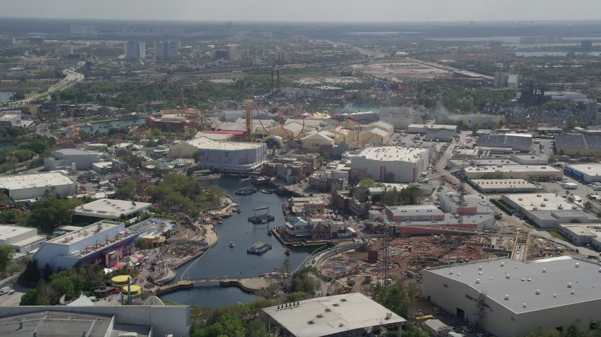 5K stock footage aerial video of Universal Studios Florida rides, Orlando, Florida Aerial Stock Footage | AX0035_015