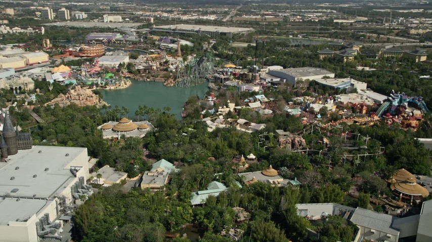 5K stock footage aerial video of the Universal Studios Florida theme park in Orlando, Florida Aerial Stock Footage | AX0035_018