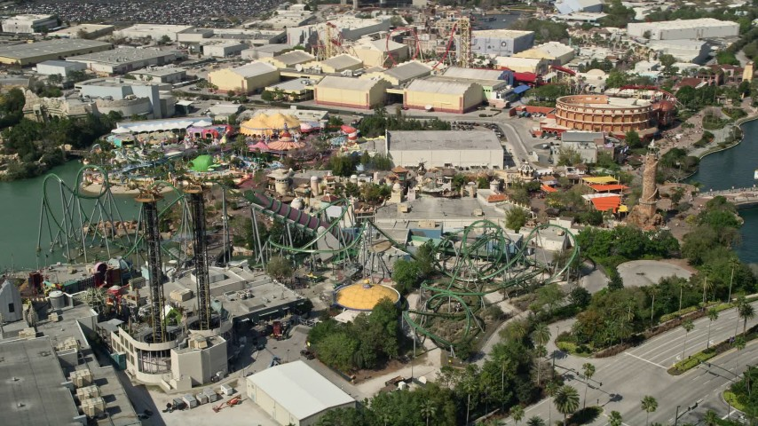 5K stock footage aerial video of of Incredible Hulk Coaster at Universal Studios theme park, Orlando, Florida Aerial Stock Footage | AX0035_021