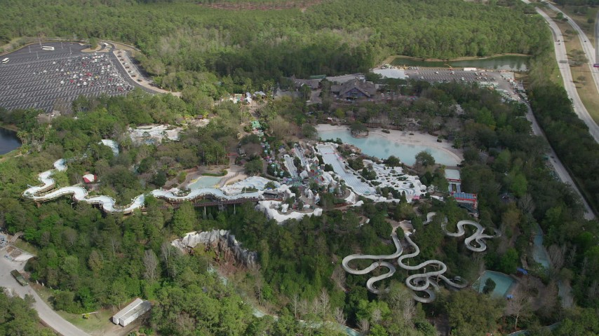 5k Aerial Video Of An Orbit Of Blizzard Beach Water Park Walt