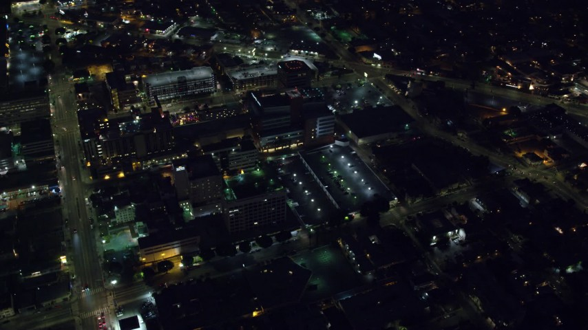 8K stock footage aerial video orbiting Children's Hospital Los Angeles, Hollywood, California Aerial Stock Footage | AX0156_014