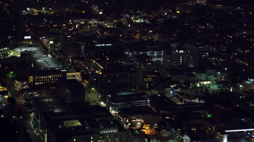 8K stock footage aerial video orbiting the Children's Hospital Los Angeles complex in Hollywood, California Aerial Stock Footage   AX0156_016
