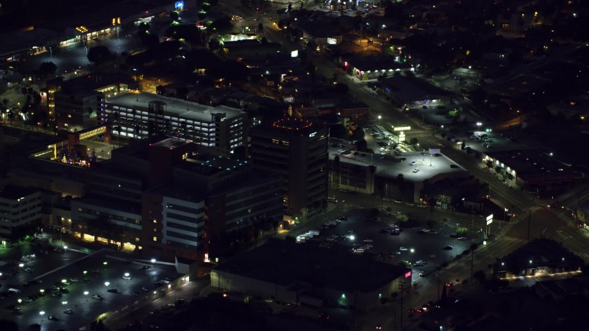 8K aerial video of a close-up view of buildings at Children's Hospital Los Angeles in Hollywood, California Aerial Stock Footage | AX0156_020