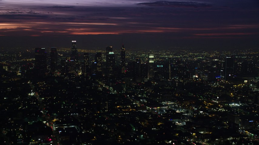 8K stock footage aerial video of Downtown Los Angeles skyscrapers at sunrise, California Aerial Stock Footage | AX0156_022