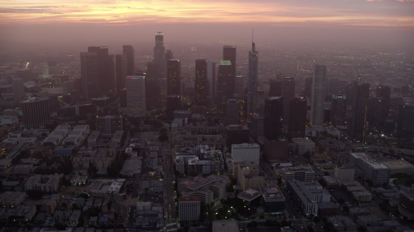 8K stock footage aerial video of Downtown Los Angeles as the sun rises, California Aerial Stock Footage | AX0156_063
