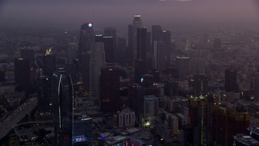 8K aerial video of The Ritz-Carlton and Downtown Los Angeles, California as the sun rises Aerial Stock Footage | AX0156_065
