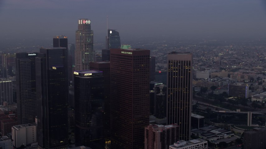 8K stock footage aerial video of US Bank Tower and the skyscrapers of Downtown Los Angeles, California early in the morning Aerial Stock Footage | AX0156_068