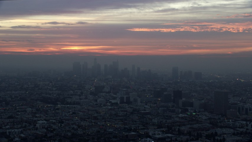 8K stock footage aerial video of the Downtown Los Angeles, California skyline on a hazy morning Aerial Stock Footage | AX0156_081