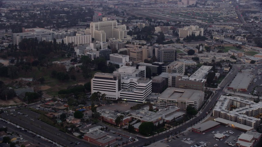 8K stock footage aerial video of Keck Hospital and General Hospital of University of Southern California in Boyle Heights, Los Angeles, California at sunrise Aerial Stock Footage | AX0156_098