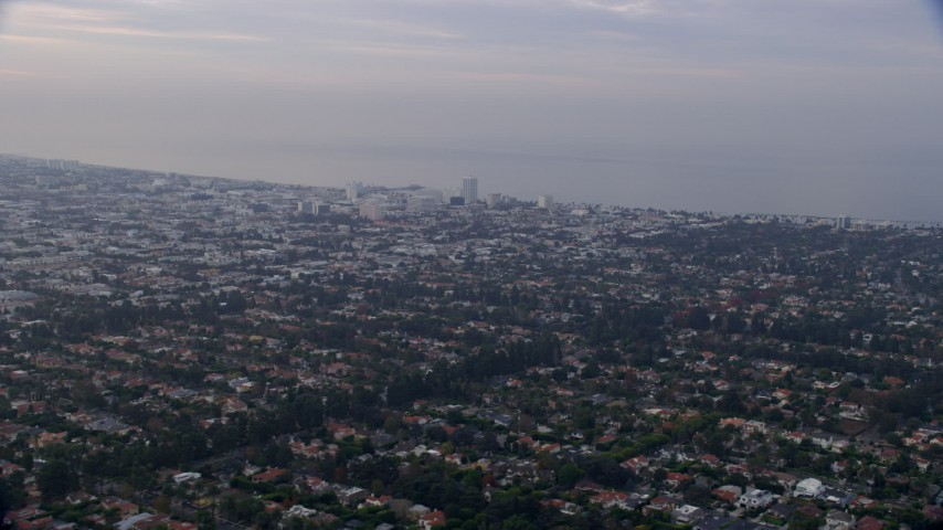 8K stock footage aerial video flying over residential neighborhoods, sunrise, Santa Monica, West Side, California Aerial Stock Footage | AX0156_143