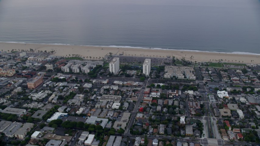 8K stock footage aerial video of Ocean Park area of Santa Monica at sunrise, California Aerial Stock Footage | AX0156_151