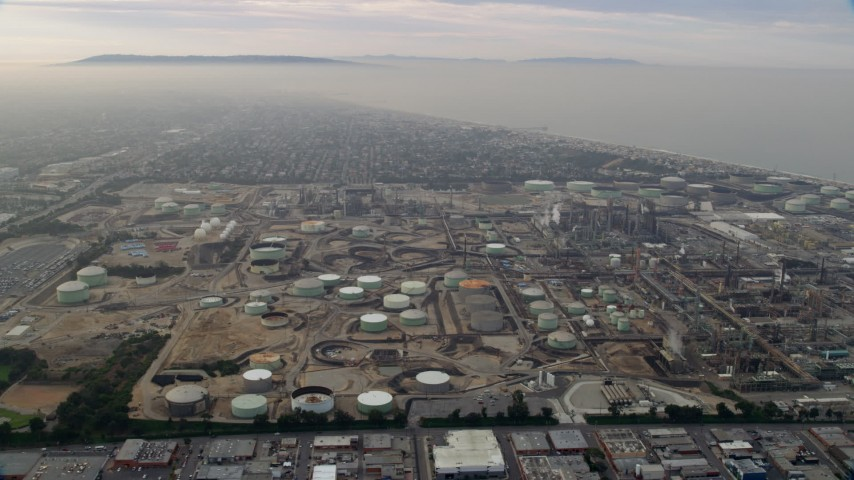 8K stock footage aerial video of Oil Refineries on a cloudy day, El Segundo, California Aerial Stock Footage | AX0156_185
