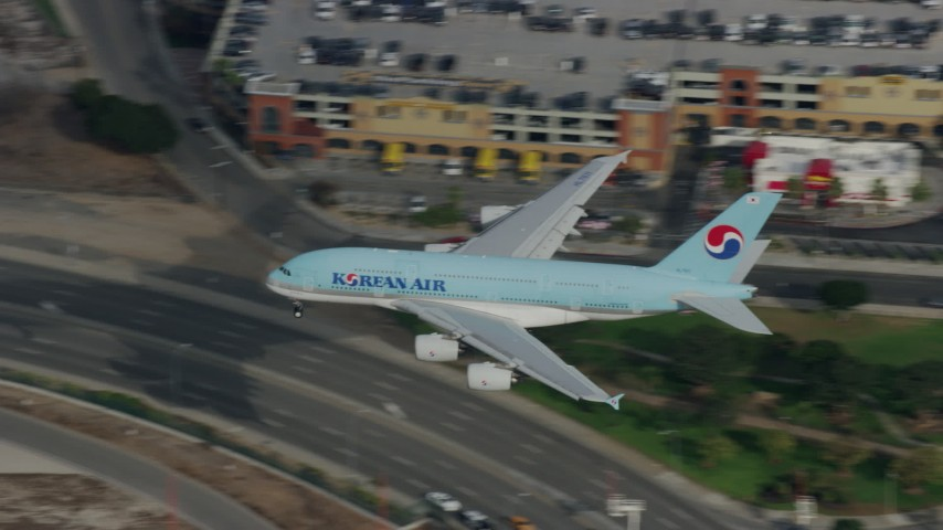 8K stock footage aerial video of Korean Air A380 landing at LAX, Los Angeles, California Aerial Stock Footage | AX0157_007