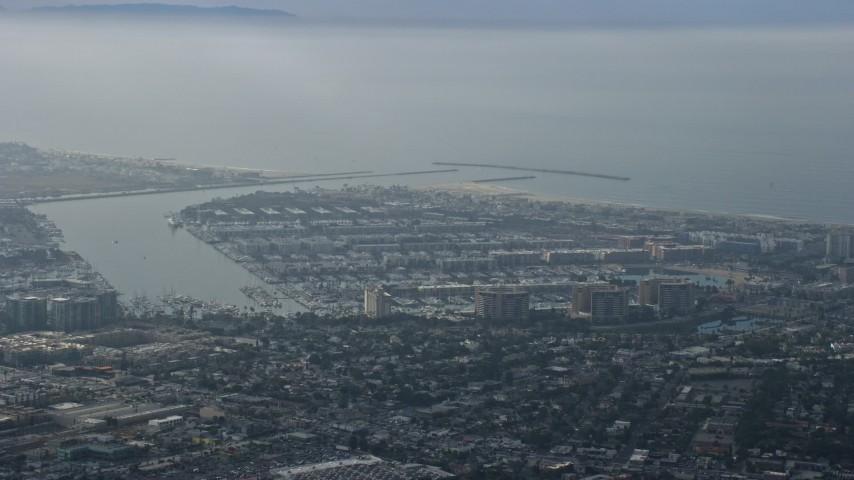 8K stock footage aerial video of coastal community and harbors, hazy, Marina Del Rey, California Aerial Stock Footage | AX0157_011
