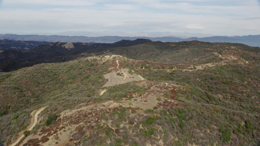 8K stock footage aerial video flying over the Santa Monica Mountains in California Aerial Stock Footage   AX0157_018