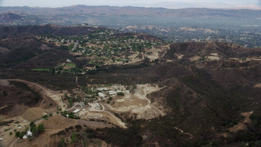 8K stock footage aerial video of homes on a hill in Topanga, California Aerial Stock Footage | AX0157_020