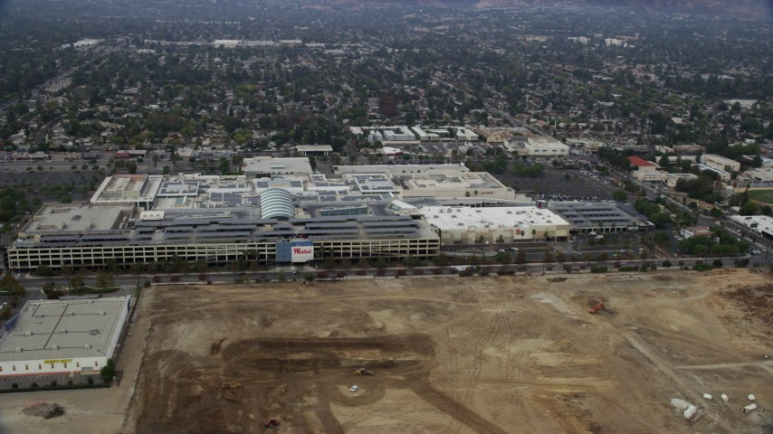 8K stock footage aerial video of a view of the Westfield Topanga Mall, Woodland Hills, California Aerial Stock Footage   AX0157_025