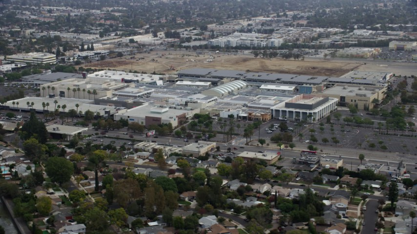 8K stock footage aerial video orbiting of Westfield Topanga Mall, Woodland Hills, California Aerial Stock Footage   AX0157_028