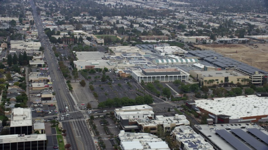 8K stock footage aerial video orbiting Westfield Topanga Mall in Woodland Hills, California Aerial Stock Footage   AX0157_029