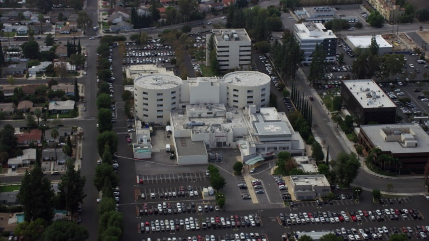 8K stock footage aerial video of West Hills Hospital complex in West Hills, California Aerial Stock Footage | AX0157_032