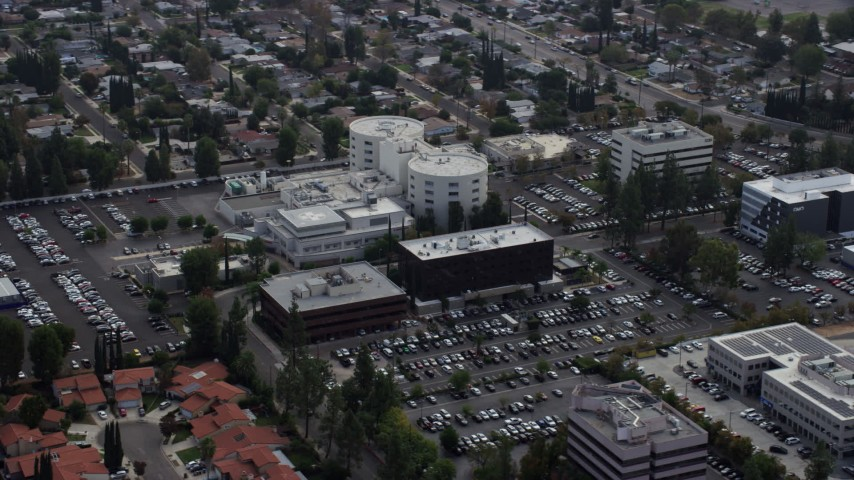 8K stock footage aerial video orbiting West Hills Hospital in West Hills, California Aerial Stock Footage | AX0157_033