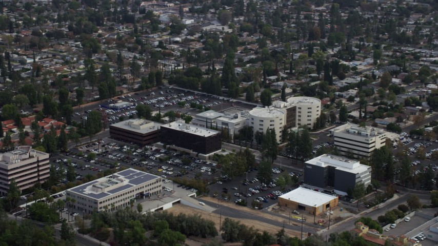 8K stock footage aerial video orbiting West Hills Hospital, West Hills, California Aerial Stock Footage AX0157_034 | Axiom Images