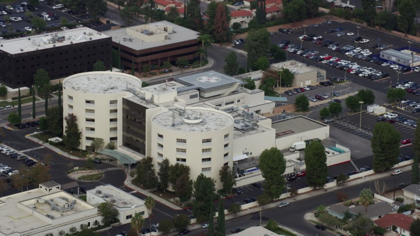 8K stock footage aerial video of West Hills Hospital in West Hills, California Aerial Stock Footage | AX0157_035