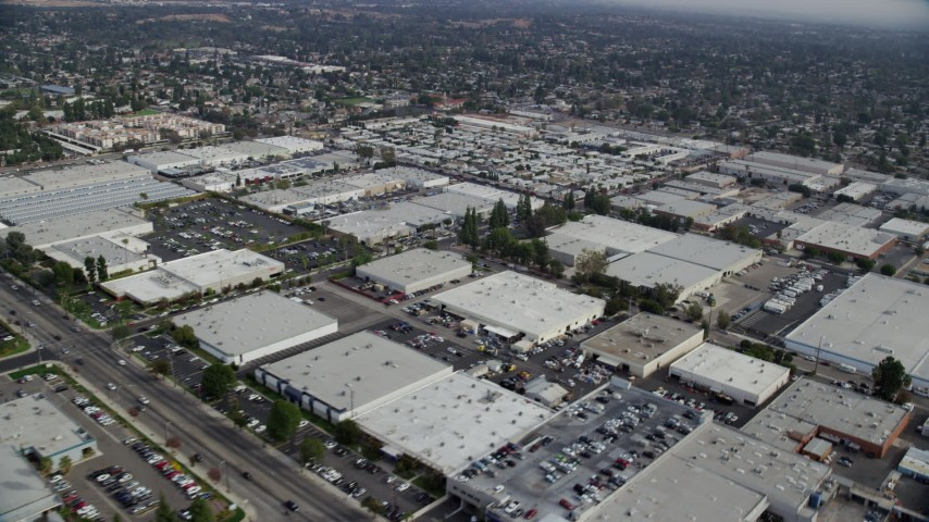 8K stock footage aerial video of an industrial area in Chatsworth, California Aerial Stock Footage | AX0157_057