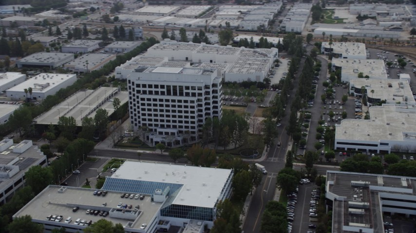 8K stock footage aerial video of an office building in Chatsworth, California Aerial Stock Footage | AX0157_058