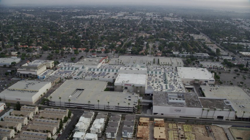 8K stock footage aerial video orbiting near the Northridge Shopping Mall in Northridge, California Aerial Stock Footage | AX0157_061