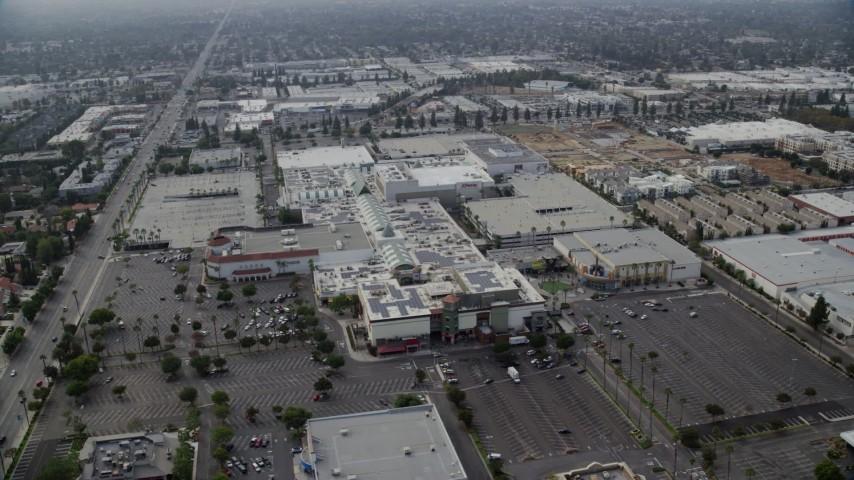 8K stock footage aerial video orbiting the Northridge Shopping Mall in Northridge, California Aerial Stock Footage | AX0157_063