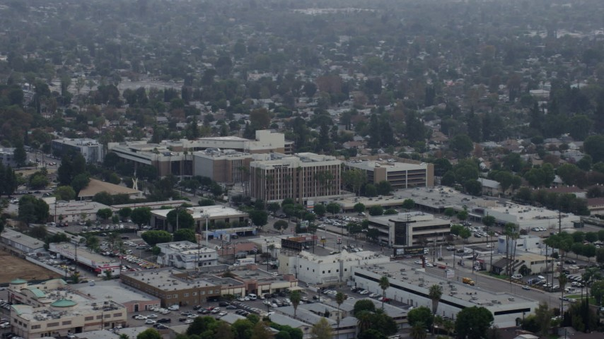 8K stock footage aerial video orbiting the side of Northridge Hospital in Northridge, California  Aerial Stock Footage AX0157_065 | Axiom Images