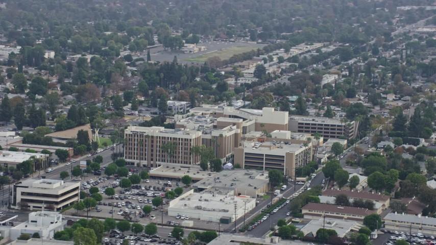 8K stock footage aerial video circling Northridge Hospital in Northridge, California Aerial Stock Footage | AX0157_066