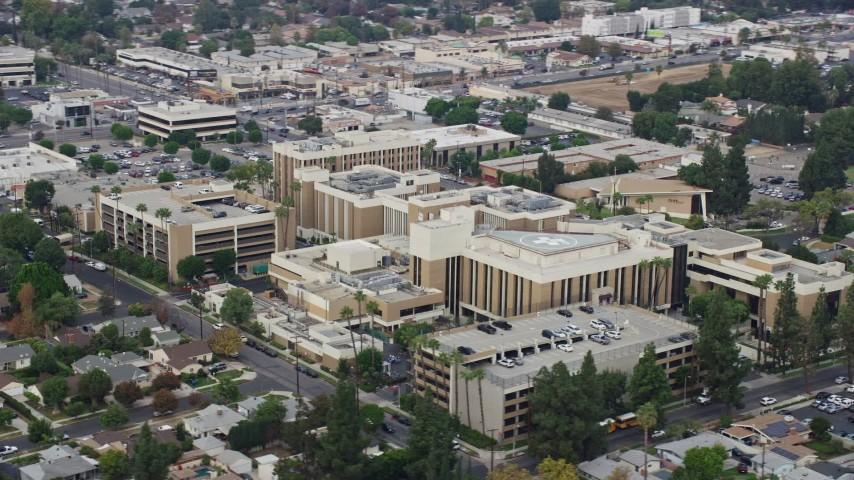 8K stock footage aerial video of an orbit around Northridge Hospital in Northridge, California Aerial Stock Footage | AX0157_067