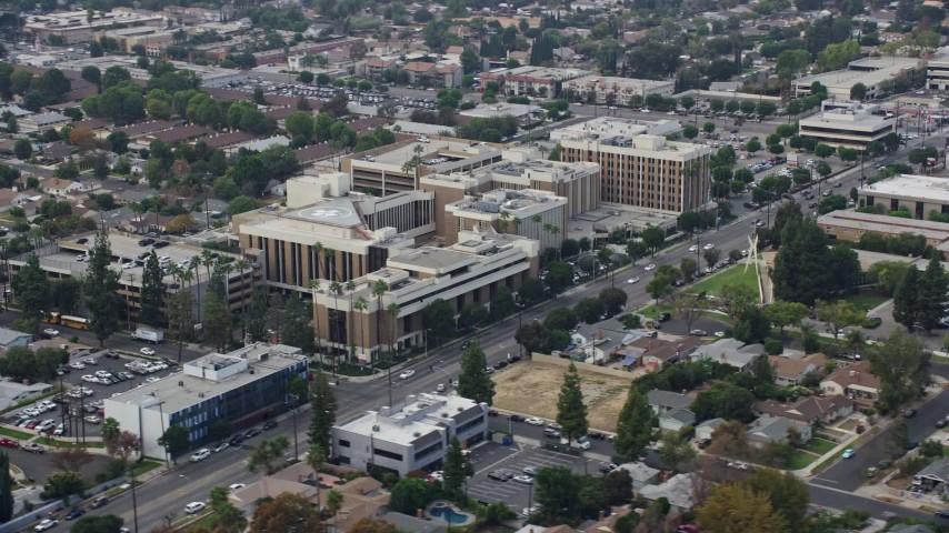 8K stock footage aerial video of an orbit of Northridge Hospital in Northridge, California Aerial Stock Footage | AX0157_068
