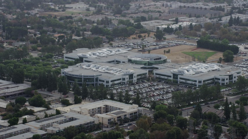8K stock footage aerial video Medtronic office building in Northridge, California Aerial Stock Footage | AX0157_071
